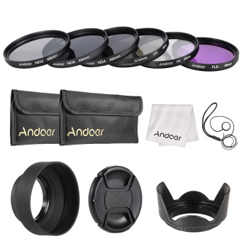 Harga Andoer 49mm Lens Filter Kit UV+CPL+FLD+ND(ND2 ND4 ND8) with Carry Pouch / Lens Cap / Lens Cap Holder / Tulip & Rubber Lens Hoods / Cleaning Cloth Outdoorfree