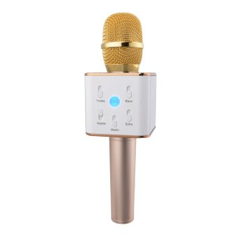 Harga Tuxun Q7 Portable Wireless Microphone Handheld Condenser Microphone with Speaker TH440 -Gold