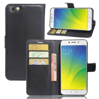 Leather Flip Cover Phone Case Wallet Card Holder For OPPO F3 Plus (Black) -
