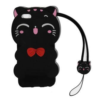 Harga Cantiq Softcase Cat 3D For Apple iPhone 6 Plus Ukuran 5.5 inch / Iphone 6G+ / iphone 6S+ Silicone 3D Black Meow Party Cat Kitty + Necklace Kalung Kitty Silicone iphone 6 plus / Soft Case / Case Unik / Lucky Cat / Manekin Neko / Kucing Hoki - Hitam