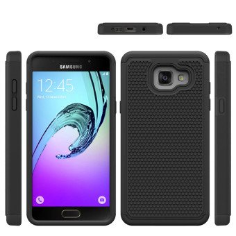 Heavy Duty Armor Shock Absorbing Dual Layer Hybrid Rugged Rubber Cover Case For Samsung Galaxy A5(2016) A510 - Black - intl