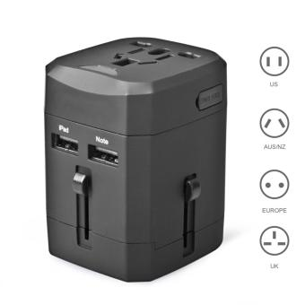 Harga Eyerayo Detachable Universal World Travel Charger Dual 3.2A USB Ports US To UK EU AU All In One Worldwide Travel Power Adapter Safety Fuse Protection Adaptor International AC Wall Charger - intl