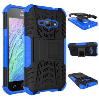 Heavy Duty Rugged Hybrid Dual Layer Kickstand Shockproof Protective Case Cover for Samsung Galaxy J1 Ace Case (Blue)