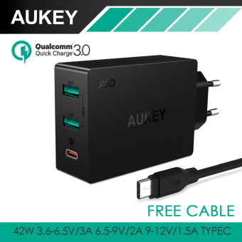 Harga AUKEY PA-T14 Quick Charge 3.0 3-Port USB Wall Charger with Micro-USB Cable (Black)