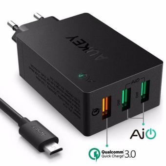 Harga Aukey 3 Usb Port Qualcomm Quick Charge 3.0 Wall Charger Pa-T14 - Original