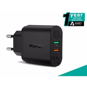 Harga Aukey PA-T13 34W 2-Port Wall Charger With Quick Charge 3.0 - Hitam