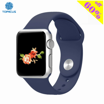 Harga top4cus silikon band untuk pengganti olahraga tali pengikat perhiasan Apple Watch iWatch seri 1 dan 2-42 mm - Kecil/Medium - Midnight Blue