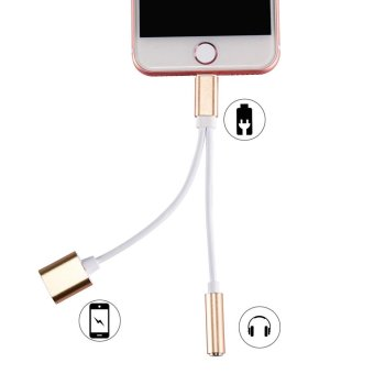 HAT PRINCE Lightning 8pin to 3.5mm Earphone Jack + Charging Port Splitter Cord for iPhone