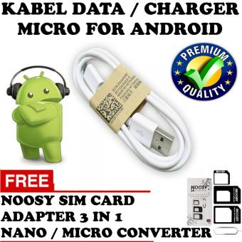 Harga Trend's Kabel Data / Charger Micro Usb Premium High Quality For Smartphone Android - Putih + Gratis Noosy Sim Card Adapter 3in1 Nano / Micro Converter