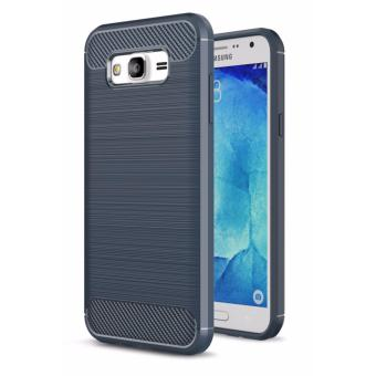 Harga Carbon Fiber Anti-drop TPU Soft Phone Cases For Samsung Galaxy J2 Prime - Biru Navi + Free Tempered Galss