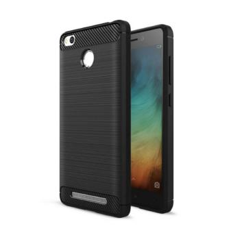 Harga Original iPaky Carbon Fiber Shockproof Hybrid Back Case for Xiaomi Redmi 3 Pro / 3s / Prime - Black