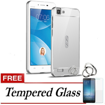 ... Black Free iRing Source Case for Vivo Y35 Aluminium Bumper With Mirror Backdoor Slide Silver Gratis