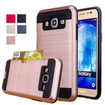 Harga Shockproof Armor Rubber Soft TPU + Hard PC Credit Card Slot Case for Samsung Galaxy J5(Rose Gold) - intl