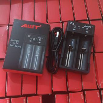 Harga AWT C2 2A USB battery charger 18650 AWT battery portable charge Vapor