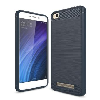 Harga Softcase Carbon Fiber Anti-drop TPU Soft Phone Cases For Xiaomi Redmi 4a - Biru Navi + Free Tempered Galss