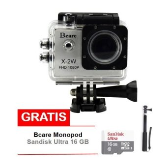 Harga Bcare Action Camera B-Cam X-2 Wifi - 12 MP Full HD 1080P - Silver + Gratis Sandisk 16GB Class 10 + Monopod