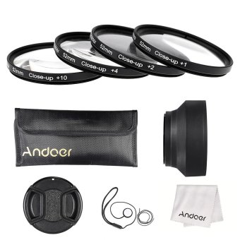 Harga Andoer 52mm Close-up Macro Lens Filter Set(+ 1 +2 +4 +10) with Lens Accessories(Lens Pouch/Collapsible Lens Hood/Lens Cap/Lens Cap Holder/Cleaning Cloth)
