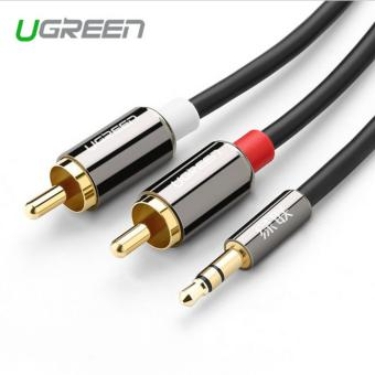 Harga Ugreen rca jack cable 2 rca male to 3.5 male audio cable 2m aux cable for Edifer Home Theater DVD VCD iPhone Headphones - intl