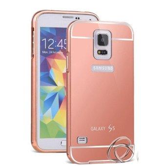 Case untuk Samsung Galaxy S5 Alumunium Bumper With Mirror Backdoor Slide Rose Gold .