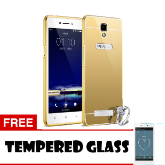 Harga Casing Oppo Neo 3 / R831K Casing Bumper Mirror - Gold + Free Tempered Glass