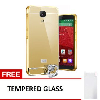 Case untuk Xiaomi Redmi Note Alumunium Bumper With Mirror Backdoor Slide - Emas + Gratis Tempered