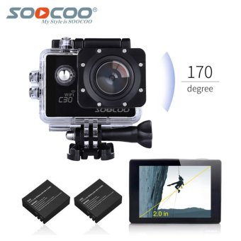 Harga SOOCOO Official C30 Wifi 4K Waterproof Action Sport Camera with Extra Battery(Black)
