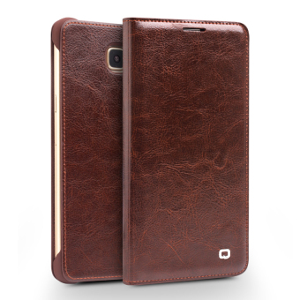 Harga QIALINO Genuine Cowhide Leather Flip Cover for Samsung Galaxy A7 SM-A710F (2016) - Brown