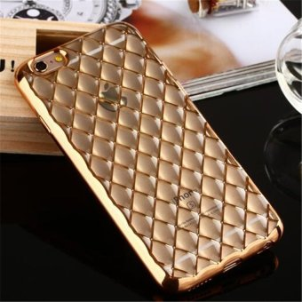 Harga Luxury Plating Fashion Arris Elegant Couples Plaid Noble Girl Case Cover For Apple iPhone 6/6S 4.7 inch Phone Cases(Gold)