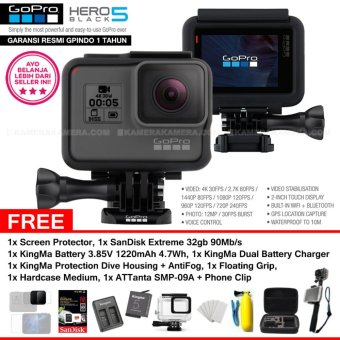 Harga GoPro Hero5 Black 4K Ultra HD Camera (Resmi IndoGP) + Screen Protector + SanDisk Extreme 32gb 90Mb/s + KingMa Battery + KingMa Dual Battery Charger + KingMa Dive Housing + AntiFog + ATTanta SMP09A + PhoneClip + Floating Grip + Medium Bag