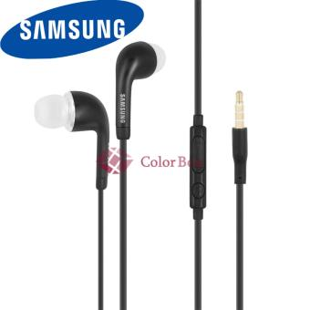Harga Samsung Original Handsfree Samsung Headset / Earphone Samsung Flat Cable J5 S4 With Control Volume Talk Original New - Hitam