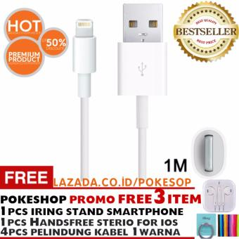 Harga Pokeshop - Data USB Lightning Charger Cable for Apple iPhone 6 6s plus 5 5s 5c Free 1Pc Headset Handsfree Earphone Earpod untuk iPhone +1pc IRing Stand Smart Phone Universal + 4pc pelindung kabel 1warna