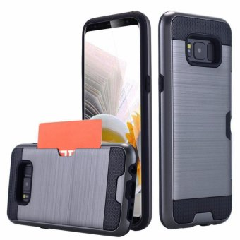 Harga Shockproof Armor Rubber Soft TPU + Hard PC Credit Card Slot Case for Samsung Galaxy S8(Grey) - intl