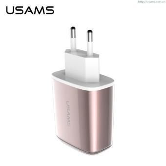 Harga USAMS U2-CC04 Dual USB 3.4A Travel Charger for iPhone iPad Samsung - Rose Gold