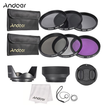 Harga Andoer 49mm Lens Filter Kit UV+CPL+FLD+ND(ND2 ND4 ND8) with Carry Pouch / Lens Cap / Lens Cap Holder / Tulip & Rubber Lens Hoods / Cleaning Cloth - Intl