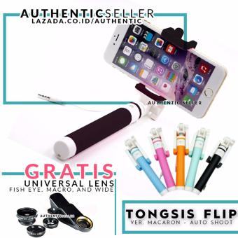 Harga Authentic Selfie Stick High Quality - Tongsis Macaron Lipat Kabel Tombol Wired Monopod for Apple And Android Phones With Built In Shutter Gratis Lensa Universal 3 in 1 (Fish Eye + Wide + Macro)