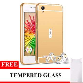 Case Aluminium Bumper Mirror For Vivo Y15 - Gold + Gratis Tempered Glass
