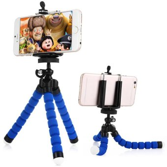 Harga Universal Flexible Octopus Leg Tripod Bracket Selfie Stand Mount Monopod Adjustable Accessories For iphone Samsung (Blue)