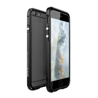 Aluminum Metal Bumper Frame + PC Clear Back Case Cover for iPhone 6 4.7 Black -