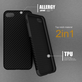 Harga Roybens Anti-Skid Anti-Knock Carbon Fiber Pattern Soft Case Cover for iPhone 7 Black - intl