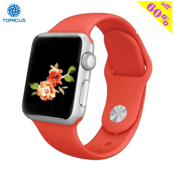 Harga top4cus Silicone Replacement Sport Strap Watch Band for Apple Watch iwatch Series 1 and 2 - 38mm - Small/Medium - Red - intl