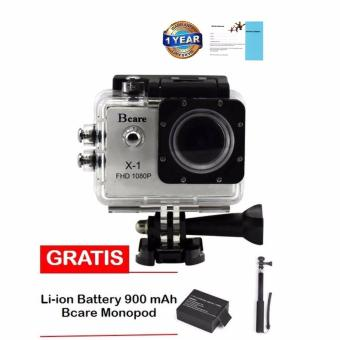 Harga Bcare B-Cam X-1 Action Camera - 12 MP - Silver + Battery 900 mAh + Monopod