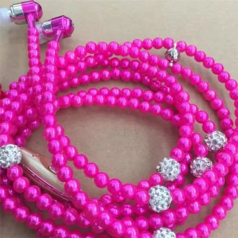 2016 High Quality TTLIFE Jewelry Pearl Necklace Earphones Rhinestone Headphone(purple)