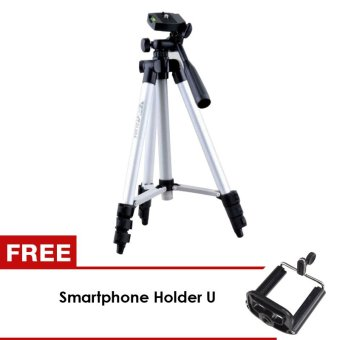 Harga Generic Tripod Camera WeiFeng KT3110A for Smartphone Xiaomi / android / iOs - Silver + Gratis Holder U