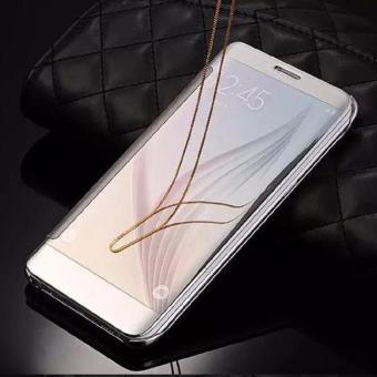 Samsung J2 Prime Flipcase Flip Mirror Cover S View Transparan Auto Lock Casing Hp-Silver