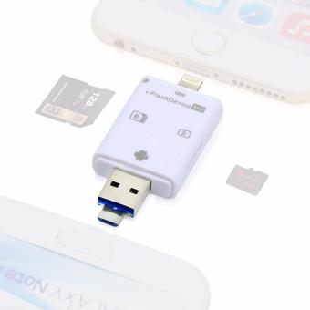 Harga FOSOTO Lightning iFlash USB SDHC Micro SD OTG Card Reader For IOS 9 iPhone 5/5S/6/6Plus/iPad PC & Android 3 in 1 Memory Card Readers & Adapters - White - intl