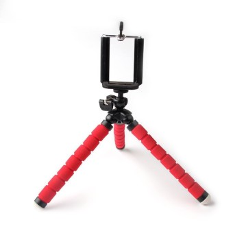 Harga Universal red Flexible Octopus Tripod Head Bracket Phone Camera Holder Stand Mount Accessories for iphone6S 5S 4S Samsung Photo