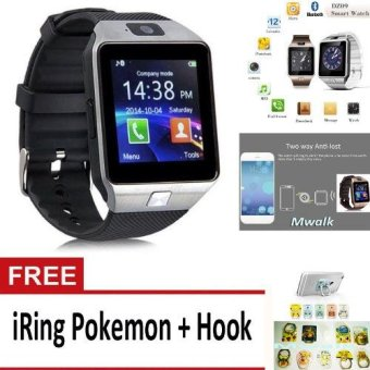 Harga Bluetooth Smart Watch DZ09 with Camera for Android and iOS – Silver + Free iRing Pokemon