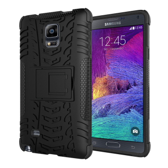 Heavy Duty Rugged Hybrid Dual Layer Kickstand Shockproof Protective Case Cover for Samsung Galaxy Note 4 Case (Black) - intl
