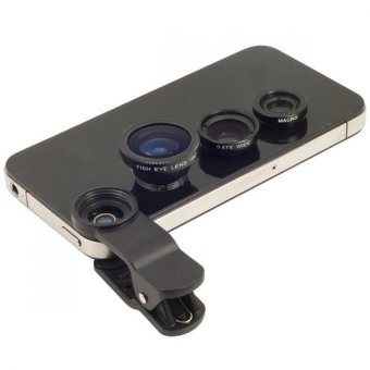 Harga Universal Clip Lens 3 in 1 - Fish Eye / Macro / Wide Angle - Hitam