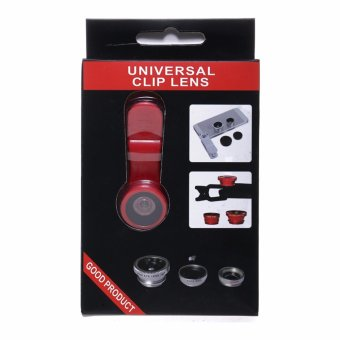 Harga Universal Clip Lens Quality 3in1 Fish Eye Macro Wide for All Smartphone - Merah